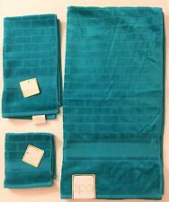 NEW SPA 3 PC SET TEAL GREEN 3D 100% COTTON BATH TOWEL+HAND TOWEL+WASH CLOTH