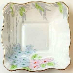 Royal Standard English Fine Bone China Square Trinket Dish - Vintage Deco Design