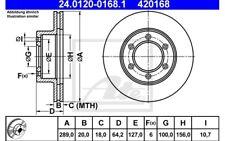 ATE Juego de 2 discos freno 289mm ventilado para VW TOYOTA 24.0120-0168.1