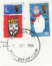 (08545) GB Used Christmas 1 Dec 1966 (first day of issue) ON PIECE