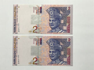 B0015 - 2pcs Malaysia RM2 Replacement ZD Ali side sign - UNC minor foxing