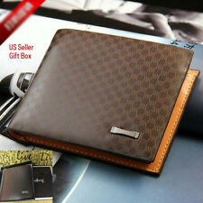 Men's Bifold ID Credit Sim Card Holder Leather Wallet Billfold Purse Slim Clutch