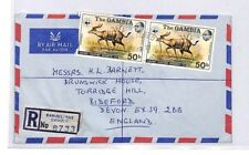 BQ45 1977 The Gambia Banjul Air Mail Cover Devon Great Britain PTS
