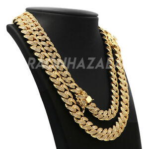 18K Yellow Gold MicroPave Iced CUBAN Miami Chain Link Lab Diamond Necklace