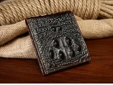 100% Genuine Neck Skin Crocodile Alligator Bifold Leather Mens Coffee Wallet