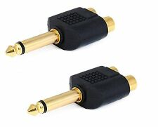 2x -Mono 6.35mm 1/4 Inch Male to 2 RCA Female Jack Audio Adapter Cable Converter