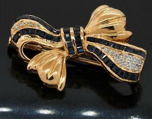 14K yellow gold 2.25CT diamond & Blue sapphire ribbon brooch