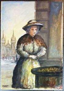 Quadro - Venditrice di caldarroste, Menani - Acquerello su cartoncino - 40x56 cm