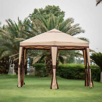 12'x 8' Hexagonal Outdoor Gazebo Canopy Shelter Awning Tent Roof Wedding Party