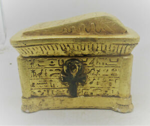 BEAUTIFUL ANCIENT EGYPTIAN GOLD SAFEBOX BOX WITH HEIROGLYPHICS