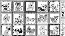 Loralie Fabric Dear Doggie Panel black white framed dog cotton sew quilt craft