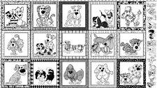Loralie Fabric Dear Doggie Panel black white framed dog cotton sew quilt craft