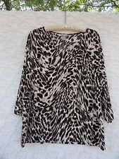 Chico's 2  Knit Top Misses XL Acetate Blend Tan Brown Black Leopard Print  MINT