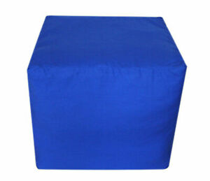 """18X18X18"""" Square Footstool Cover Blue Pouf Ottoman Cover Seating Ottoman Covers"""