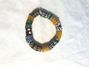 Vintage African Trade Bead Chunky Stretch Bracelet, yellow green brown blue