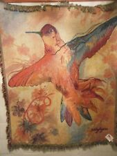 "Sally Ayers Hummingbird Woven Throw Blanket Wall Tapestry 60"" X 50"" 100% cotton"