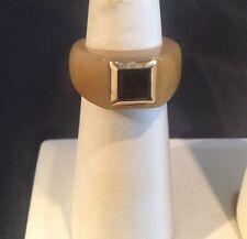 Antique 14k Gold Jade & Garnet Ring Size 7