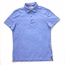Hackett Mayfair Men's Medium Heather Powder Blue S/S Polo Shirt Cotton Silk