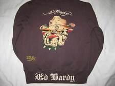 ED HARDY boys size 12 brown bulldog dog warm hoodie sweatshirt jacket fleece