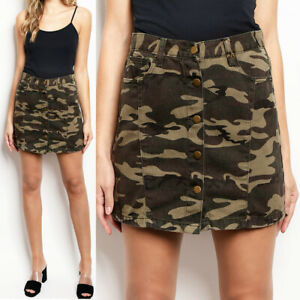 NEW Camouflage Camo Button Front 100% Cotton High Rise Pockets Denim Mini Skirt