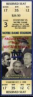 College Football Ticket Notre Dame 1998 - 10/3 - Stanford Full