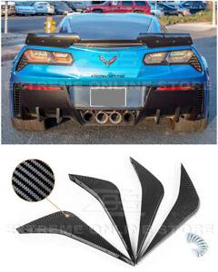 For 14-19 Corvette C7 HYDRO CARBON FIBER Rear Bumper Lower Air Diffuser Fin Pair