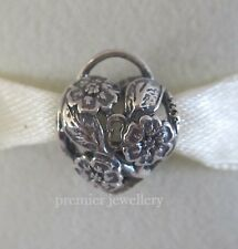 Authentic Genuine Pandora Sterling Silver Floral Heart Padlock Charm 791397