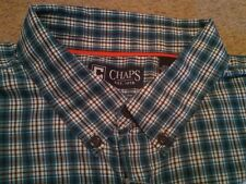 NWT $59 MENS CHAPS EXPLORER TREKKER SHIRT BLUE PLAID BUTTON UP SHIRT XXL UPF 50+