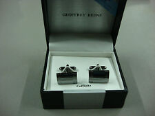 NWT Men's Geoffrey Beene Cuff Links Rectangle Silver Color #329B