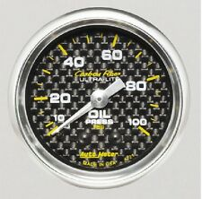 AU4721  Auto Meter, Carbon Fibre Oil Pressure Gauge, 0-100 psi, 2 1/ 16in Analog