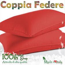 COPPIA FEDERE 52X82 100% COTONE ROSSO ROSSE FEDERA GUANCIALE CPFDROS