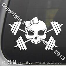 Girl Weight Trainer Crossbones Decal - weight lifting set bars dumbbells sticker