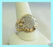 ELVIS TCB JEWELRY VERMEIL TWO TONE 70S NUGGET 22 CZ CLUSTER RING