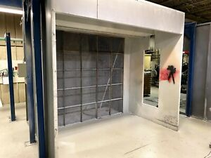 Industrial Wet Spray Booth with Exhaust Fan, Used