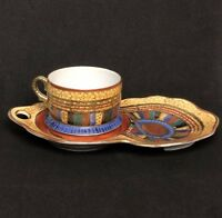 RARE Vtg Kutani Japan Eggshell 2pc Tea Cup Snack Plate Set Gold Bronze Design
