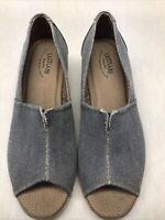 """Eastland """"Brooke"""" Women's Blue Denim Peep Toe Slip On Shoes 2"""" Wedge Heel Size 9"""