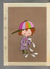 """MOTHERS DAY Cute Girl in Cap w Flowers Tears 6.5x9"""" Greeting Card Art #MD7516"""