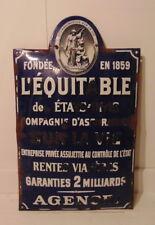 antique LIFE INSURANCE COMPANY Enameled sign emailplatte plaque émaillée France