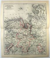 Original 1888 Map of Oldenburg and the Weser River Basin by Meyers