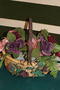 Oval Basket with Metal Flowers