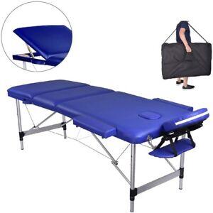 Massageliege  Aluminium 3 Zonen Massagebank Blau Kosmetikliege mobil