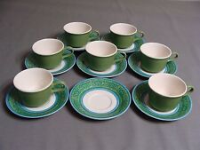7 Cavalier Ironstone Cups & 8 Saucers, Royal China USA, Green & Blue Pattern