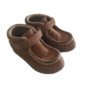 Hanna Andersson Haskell Leather Ankle Moccasin Boots Girls Size 8