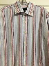 Mens J. FERRAR size L red white blue Striped Button Down Dress Shirt