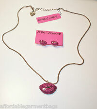 Betsey Johnson Pink Glitter Rhinestone Lips Pendant Necklace Earrings Valentines