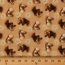 Cotton World of Horses Horse Shoe Bridle Tan Cotton Fabric Print by Yard D462.10