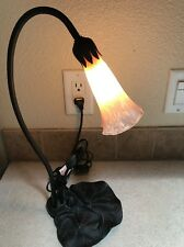 Vtg Art Nouveau Tulip Deco Desk Lamp Lily Pad Pink Toggle Switch Table Light