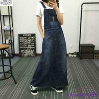 Womens Denim Suspender Skirt Overalls Jeans Long Dress Jumpsuit A-line Loose Hot