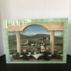 1500 Piece FX Schmid Vineyard Bounty Jigsaw Puzzle Wine Cheese Grapes 78907 NEW