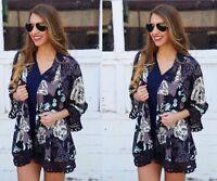 Women Loose Shawl Kimono Cardigan Boho Chiffon Blouse Vintage Floral Jacket Tops